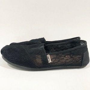 Toms Black Lace Slip On loafer Shoes